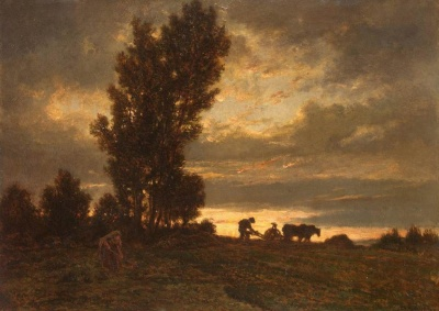 Landscape with a Plowman (ca. 1860) by Théodore Rousseau, work is in public domain