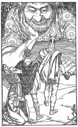 "Frontispiece of Brown, Abbie Farwell (1902). ""In the Days of Giants: A Book of Norse Tales"" Illustrations by E. Boyd Smith. Houghton, Mifflin & Co.  Image is in the public domain."